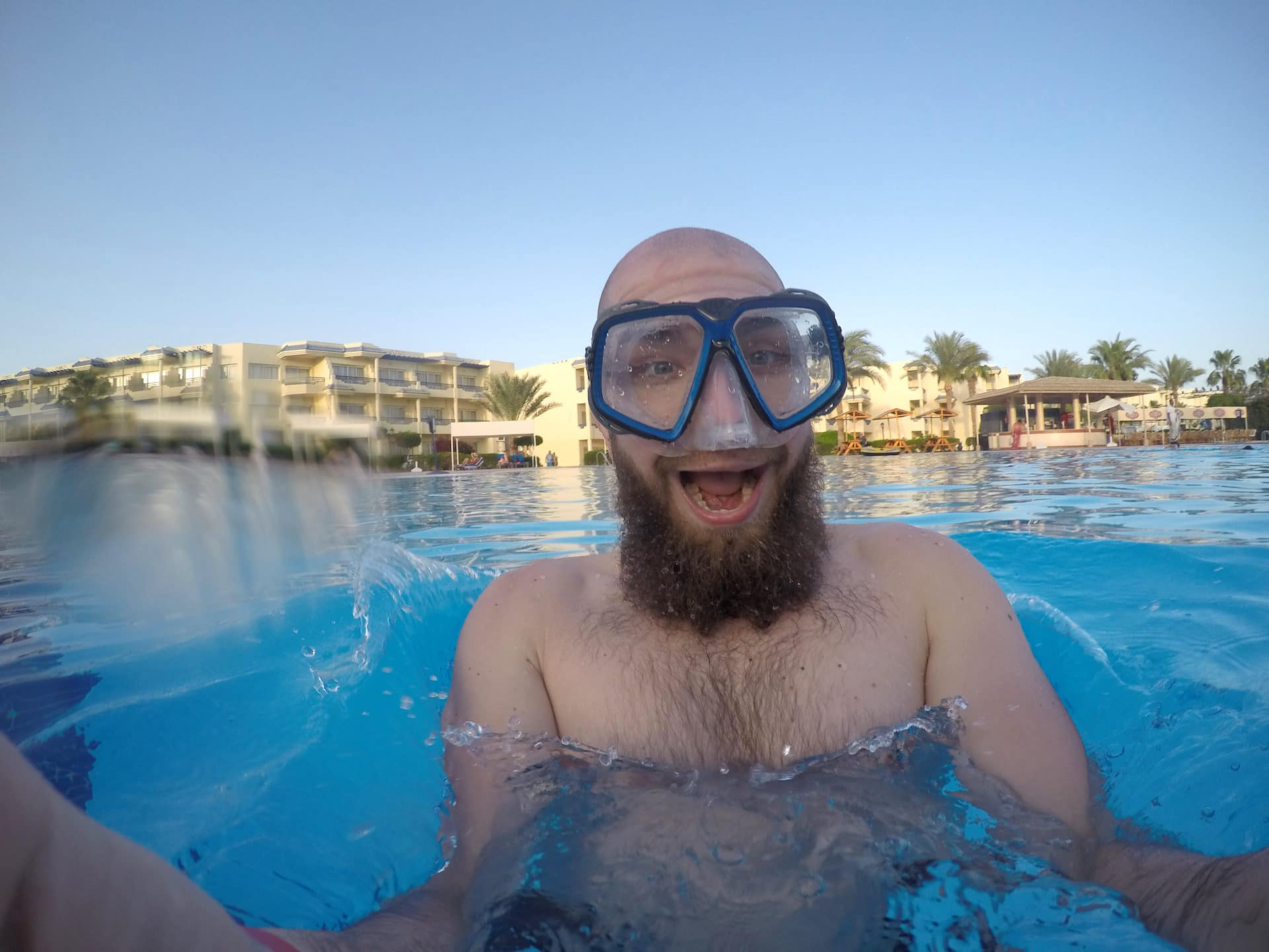 beard with spearfishing equipment